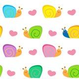Un pequeño caracol y un vector inconsútil de los corazones modelan el ejemplo Imágenes de archivo libres de regalías
