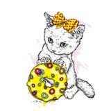 Un pequeño gatito lindo sostiene un buñuelo multicolor grande Ilustración del vector Perro pastor Gato ilustración del vector