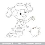 Un pequeño juego del bebé con la moneda y la hucha Fotos de archivo libres de regalías