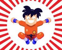 Un pequeño karate alegre del hombre en un salto Imagenes de archivo