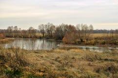 Un pequeño lago alargado entre los campos Imagen de archivo