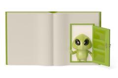 Un pequeño monstruo verde que sale de un libro abierto, illustrat 3D Imágenes de archivo libres de regalías