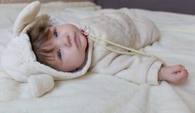 Un pequeño niño hermoso en el traje del animal Fotografía de archivo libre de regalías