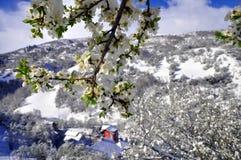 Un pequeño pueblo en las cuestas de la montaña de Shar, cubiertas con la nieve de abril Imagen de archivo