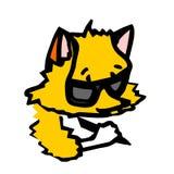 Un pequeño zorro escribe algo con un lápiz Un personaje de dibujos animados Imágenes de archivo libres de regalías