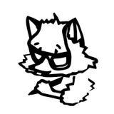 Un pequeño zorro escribe algo con un lápiz Un personaje de dibujos animados Fotografía de archivo