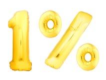 Un per cento dorato fatto dei palloni gonfiabili Fotografie Stock Libere da Diritti