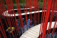 Un percorso di legno nel giardino di bambù nel parco Chaumont immagini stock