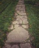 Un percorso di pietra in primavera Immagine Stock