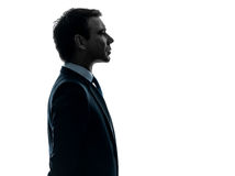 Silueta seria del perfil del retrato del hombre de negocios Foto de archivo