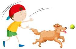 Un perro del entrenamiento del muchacho ilustración del vector