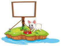 Un perro y la señalización enmarcada vacía libre illustration