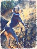 Un perro y su palillo stock de ilustración