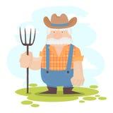 Un personaggio dei cartoni animati divertente dell'agricoltore Fotografia Stock
