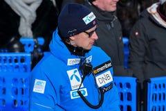 Un personal que trabaja durante el eslalom gigante de Audi FIS el Ski World Cup Women alpino fotografía de archivo libre de regalías
