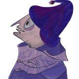 Un personnage de dessin animé de sorcière, magicien dans le chapeau illustration stock