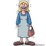 Un personnage féminin avec le sourire drôle Photo stock