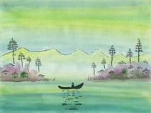 Un pescador coge pescados de un barco en un lago de la montaña ilustración del vector