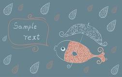 Un pesce con un ombrello. Royalty Illustrazione gratis