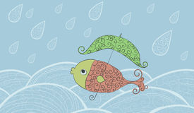 Un pesce con un ombrello. Illustrazione Vettoriale