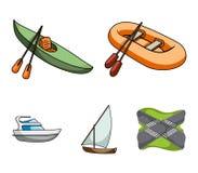 Un peschereccio di gomma, un kajak con i remi, una goletta di pesca, un yacht del motore Navi e raccolta stabilita di trasporto d Immagine Stock
