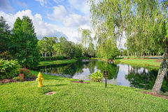 Un petit étang à la communauté de paume de Tampa Images libres de droits
