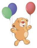 Un petit animal d'ours bourré de jouet avec le jouet monte en ballon la bande dessinée Photo stock