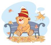 Un petit animal d'ours bourré de jouet et des feuilles en baisse cartoon illustration de vecteur