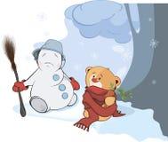 Un petit animal d'ours bourré de jouet et un Noël lancent des boules de neige la bande dessinée Photographie stock