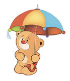 Un petit animal d'ours et un parapluie Photos stock