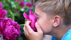 Un petit bébé mignon apprécie doucement l'odeur des fleurs L'enfant prend une fleur et inhale son parfum floraison banque de vidéos