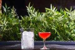 Un petit bas verre avec un cocktail alcoolique rouge est sur la table à côté d'un vase en verre complètement de grands morceaux c Photo stock
