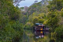 Un petit bateau est reflété en rivière avec les feuilles vertes des arbres (Indonésie) Photos libres de droits
