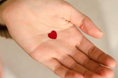 Un petit coeur dans une main d'une jeune fille Photographie stock libre de droits