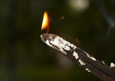 Un petit feu dans la cheminée pour fumer la photo Image libre de droits