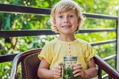 Un petit garçon boit l'eau avec la menthe et la chaux Buvez plus d'eau c Image stock
