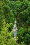 Un petit pont piétonnier au-dessus du précipice Photographie stock libre de droits