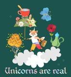 Un petit petit renard mignon - une licorne avec un parapluie magique dans des ses pattes, marche les nuages illustration de vecteur