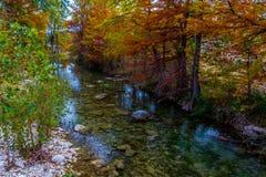 Un petit ruisseau de bavardage avec les arbres de Cypress renversants d'automne photographie stock libre de droits