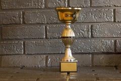 Un petit trophée avec un fond foncé image libre de droits