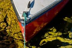Un petit voilier sur l'eau Vue du bateau de l'arc Sid images libres de droits