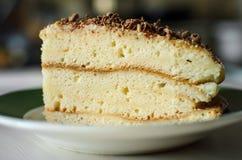 Un pezzo di cioccolato casalingo del cakewith del biscotto spruzza fotografie stock libere da diritti