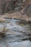 Un pezzo di fiume della montagna alla scogliera immagine stock libera da diritti