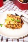 Un pezzo di lasagne al forno bolognese Fotografie Stock Libere da Diritti
