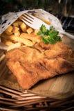 Un pezzo di merluzzo fritto con le fritture fotografie stock