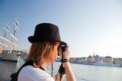 Un photographe à Stockholm, Suède Image libre de droits