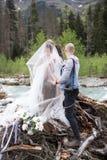 Un photographe de mariage prend des photos des jeunes mariés en nature, le photographe dans l'action images stock