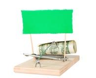 Un piège de souris avec l'argent Photo libre de droits