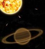 Un pianeta è Saturno e sole Immagine Stock