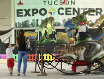 Un pianeta di T-Rex di giro del figlio e della madre, centro dell'Expo di Tucson Fotografia Stock